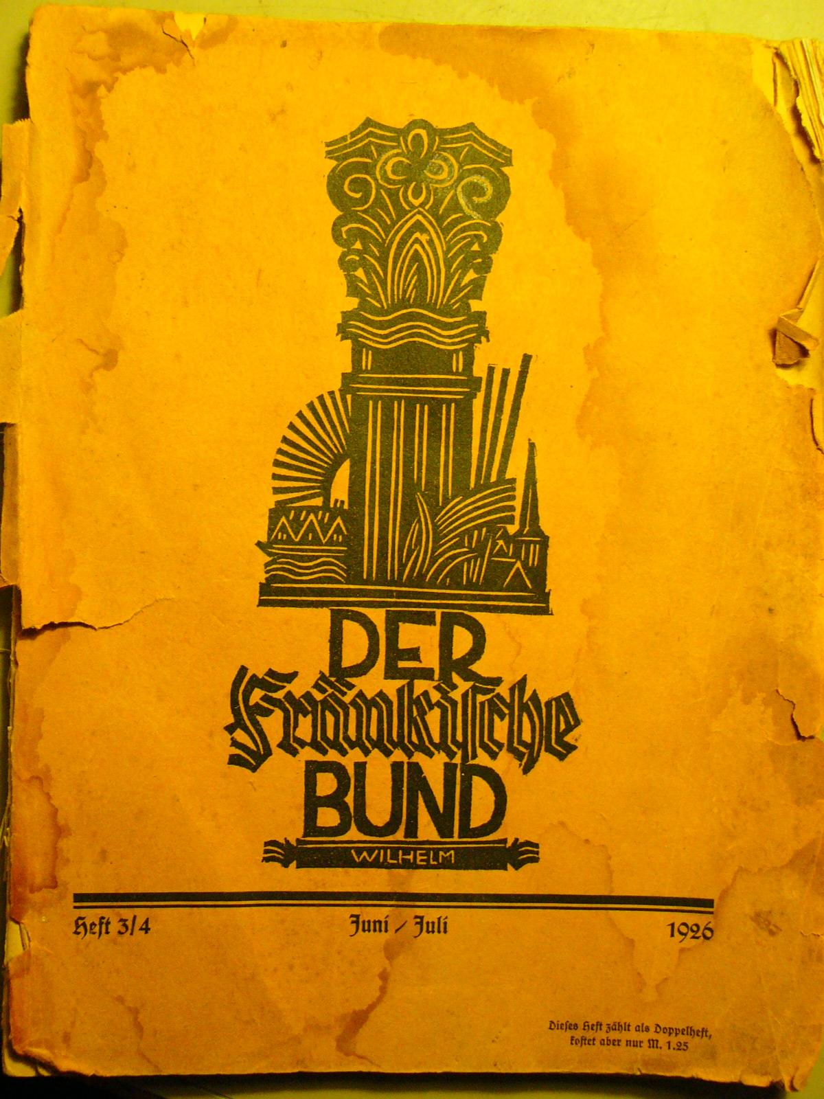2007 zufällig endeckt Heft Ausgabe 1926 Der fränkische Bund.JPG