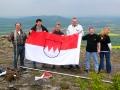 2005 Frankenfahne auf den Staffelberg vl.B.schneiderM.Hofmann V.Backert j.Schedel A. Stöcklein I.Scharold Foto J.Kalb.JPG