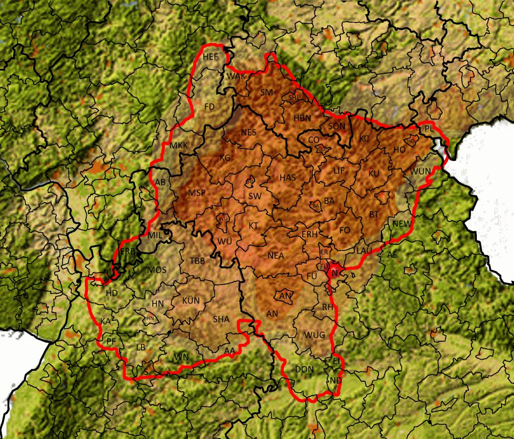 Ostfranken Topografie