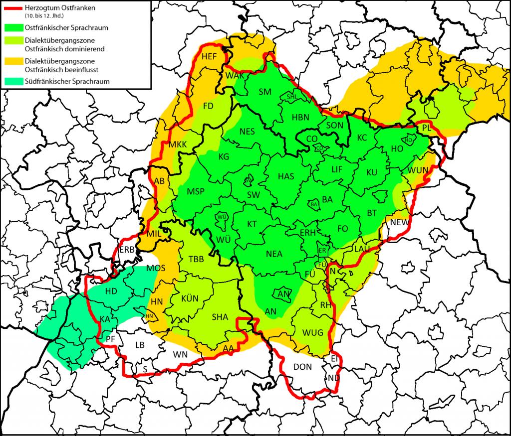 Sprachräume Herzogtum Ostfranken