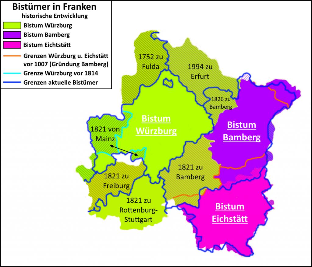 Bistümer in Franken